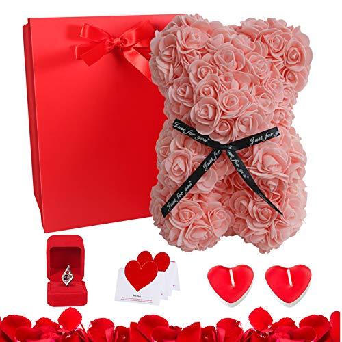 Orsacchiotto san valentino, Orso Rosa Regalo, Orsacchiotto di rosa Artificiale Con squisita confezione regalo, Contiene biglietti di auguri, Candela , Collana con ciondolo in argento