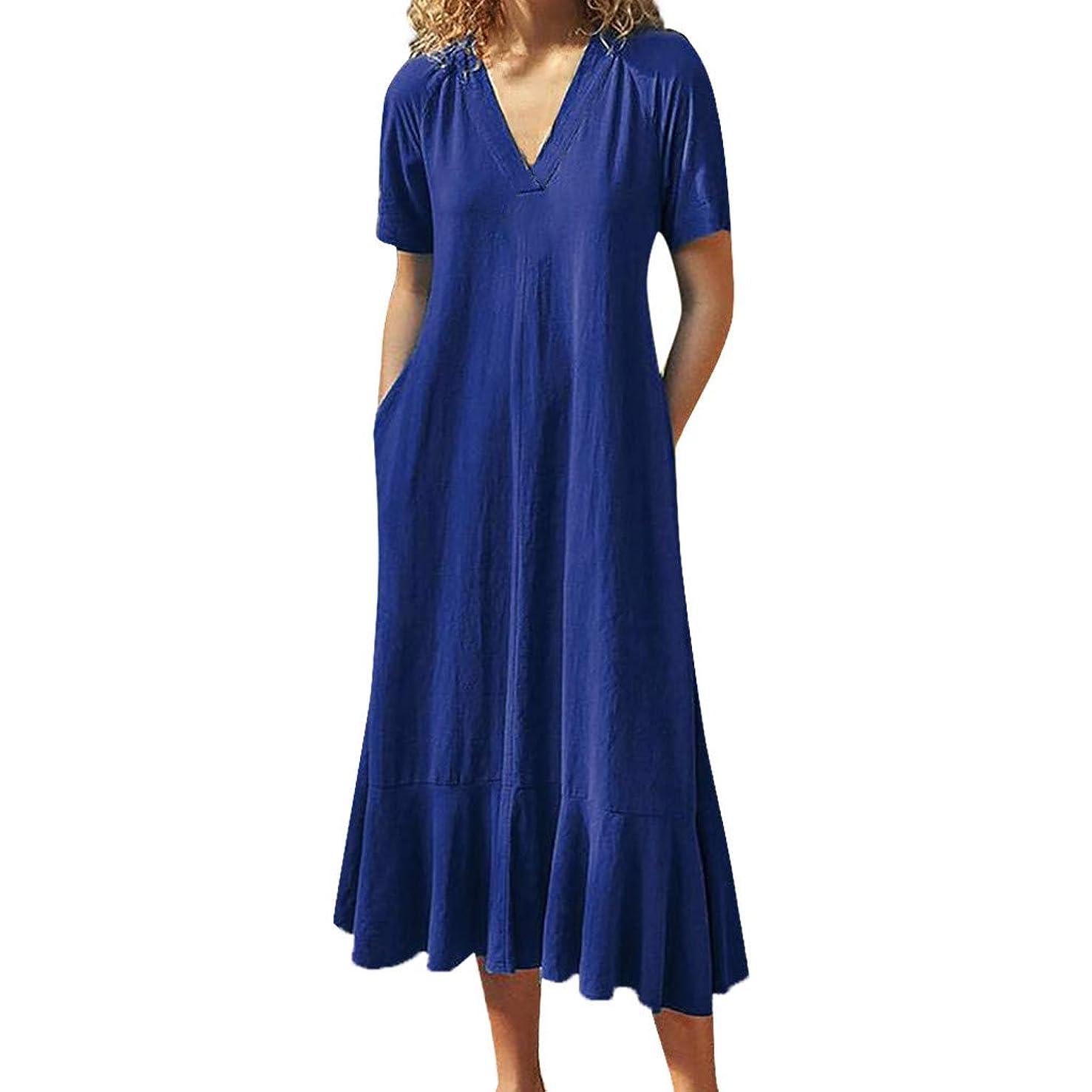 Women Solid Backless Dress Short Sleeve V-Neck Mid-Calf Long Ruffle Dresses