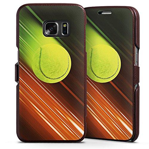 DeinDesign Samsung Galaxy S7 Lederhülle Handyhülle mit Klappe Klappfunktion Flip Case Tennis Tennisball Speed