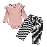 Newborn Baby Girls Robin Long Sleeve Top Romper+Stripe Long Pants Set 18-24Months Infant Girl Fall Loose Clothes Set