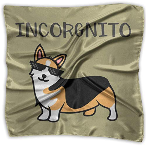 Incorgnito Corgi - Pañuelo cuadrado de satén mediano para mujer