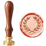 mdlg Vintage corona de oliva imagen logotipo invitación de boda con sello de cera de sellado sello Juego de mango de madera de palisandro