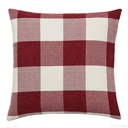 Home Essential Lot de 2 housses de coussin à carreaux respirantes et résistantes au plaid en lin pour décoration intérieure 45 x 45 cm (rouge)