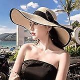帽子 - レディースアウトドアサマーバイザービーチ日焼け止めビッグストローハットシンプルファッションアンチUVサンハット折りたたみ式痕跡なし(マルチカラーチョイス) (色 : #4)