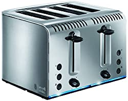 Polished stainless steel with Russell Hobbs logo embossed Variable browning control Up to 55 percent faster toasting than the previous models Blue illuminated light strip during the toasting cycle Wide slots - ideal for toasting thicker items like cr...
