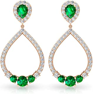 1.24CT Pear Round Certified Emerald Moissanite Drop Dangle Earring, Unique Green May Birthstone Bridal Wedding Earring, Op...