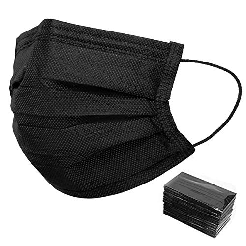 Individually Packaged 50 Pack Black Disposable Face Masks - Unisex Oral Protection Black Mask - 3 Ply Protectors with Elastic...