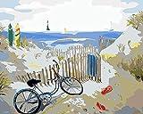 HLDJ Malen nach Zahlen40x50cm, Set für Erwachsene, Kinder, Neu, Selber auf Leinwand malen nach Zahlen zur Heimdekoration-Fahrrad_DIY-Framework