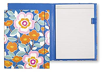 Kate Spade New York Blue Leatherette Notepad Folio Professional Padfolio with Lined Writing Pad Interior Pocket and Pen Loop Pop Floral