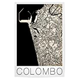 artboxONE Poster 120x80 cm Städte Retro Map of Colombo,