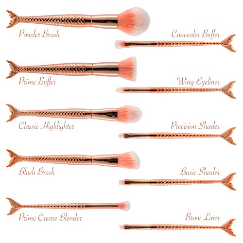 Make Up Pinsel Set Professionelles Schminkpinsel Set hochwertige Kosmetikpinsel Meerjungfrauen...