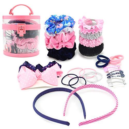 KreativeKraft Haarspangen Mädchen Set | Haare Frisuren Set | Haarschmuck Mädchen Set | Bänder, Stifte Und Haargummi Klein Und Grossen | Geschenkidee Für Kleine Mädchen