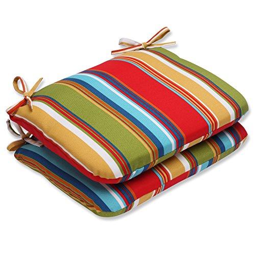 """Pillow Perfect 572727 Outdoor/Indoor Westport Garden Round Corner Seat Cushions, 18.5"""" x 15.5"""", Multicolored"""