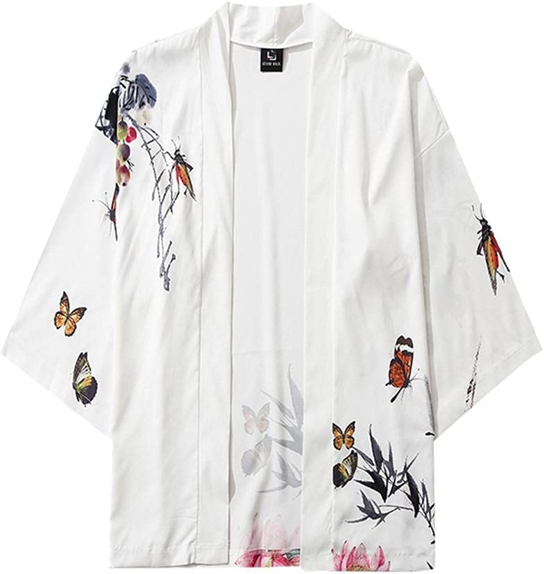 Men's Loose Trendy Open Front 3/4 Sleeve Japanese Style Print Cover Up Cardigan