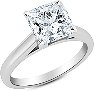 3 Ct Princess Cut Cathedral Solitaire Diamond Engagement Ring 14K White Gold (J Color SI1 Clarity)