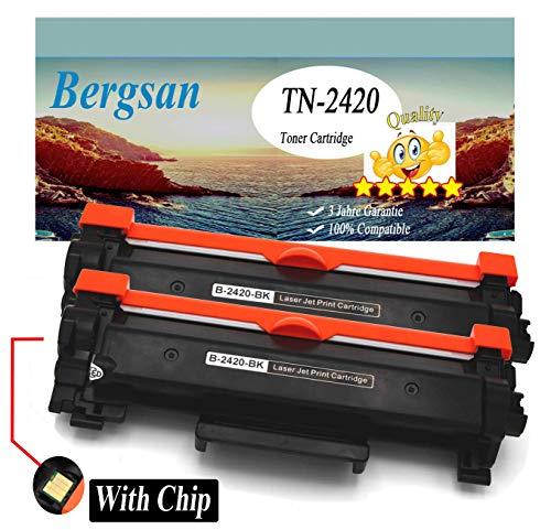 Bergsan Toner XL compatibel met Brother TN-2420 TN-2410 voor Brother HL-L2310D HL-L2350DW HL-L2357DW HL-L2370DN HL-L2375DW DCP-L2510D DCP-L2530DW DCP-L2537DW DCP-L2550DN MFC-L2710DN MFC-L2710DW 2 x zwart