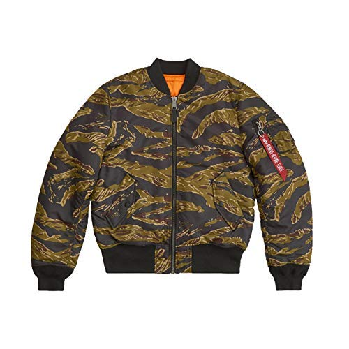 Alpha Industries Men's Slim-European Fit MA-1 Flight Jacket (XL, Woodland Camo)