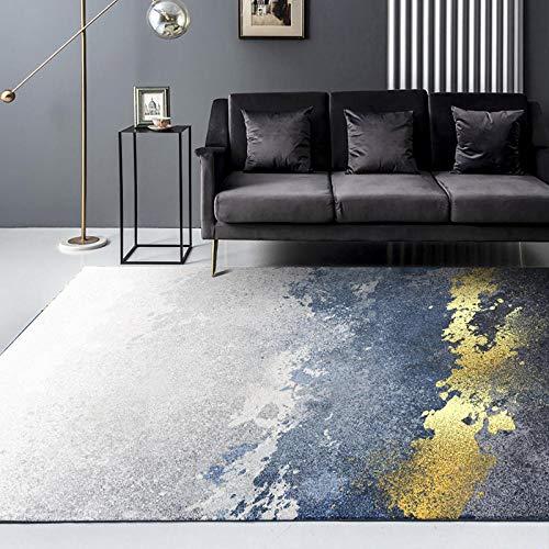 Home Alfombra De Salón Moderna De Pelo Corto Azul Dorado Gris Salpicaduras de Tinta Pintura impresión Digital sofá Dormitorio Sala de Estar Junto a la Cama área de hogar Alfombra-El 160X230CM