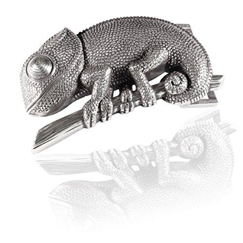 Gürtelschnalle Buckle 40mm Metall Silber Geschwärzt - Buckle Reptil - Dornschliesse Für Gürtel Mit 4cm Breite - Silberfarben Geschwärzt