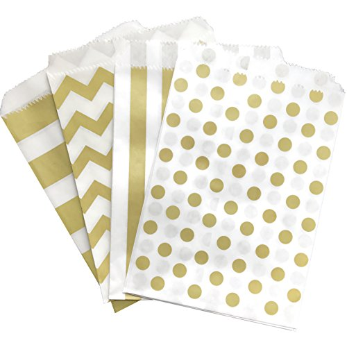 Gold and White Treat Sacks - Chevron Polka Dot Stripe Favor Bags - 5.5 x 7.5 inches - 48 Pack