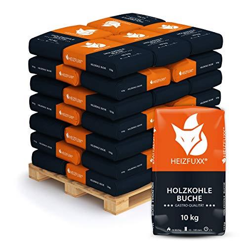 HEIZFUXX Grillkohle Holzkohle Buchenholzkohle Hartholz Buche BBQ Gastro Kohle Restaurant Steakhouse Grill Smoker 10kg x 36 Sack 360kg / 1 Palette Paligo