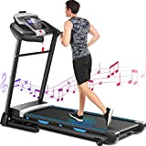 ANCHEER Treadmill, 3.25HP APP Control Foliding Electric Treadmills with Soft Drop System & Automatic Incline, Walking Running Exercise Machine for Home (Black)