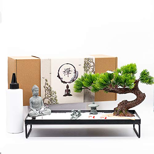 BangBangDa Meditation Decoration Japanese Zen Garden – Home Office Bonsai Zen Garden Decor Zen...