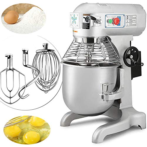 Happybuy Commercial Dough Mixer 20qt 750W Food Processor 3 Speeds Adjustable 94 165 and 386 RPM for...