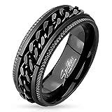 Artisan Owl Black IP Grooved Edge Center Chain Spinner Ring in 316L Stainless Steel (Stainless-Steel, 10)