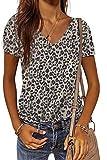 Maavoki Damen Sommer Camouflage T-Shirt, Casual Tops Basic Rundhals Kurzarm Oberteil, Lässige Einfarbige Sommerbluse Tops Shirt (Leopard, XXL)