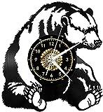 Reloj de pared de vinilo con diseño de oso polar en 3D, con esfera de oro, reloj digital, simple, moderno, hecho a mano, decoración del hogar, regalo con LED
