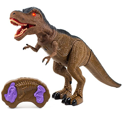 Toysery Remote Control Dinosaur Toy, Realistic Tyrannosaurus T-Rex Dinosaur Toys with Glowing Eyes, Roaring Sound, Shaking Head and Walking, Educational RC Dinosaur Robot for Boys Girls Toddlers