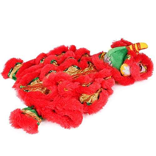 everlaste Dog Costume Lion Dance Dog Costume, Chinese New Year Style Costume Lion Dance Dragon Dancec Clothing Pet Makeover Funny Clothes Red Lucky Cosplay Costume