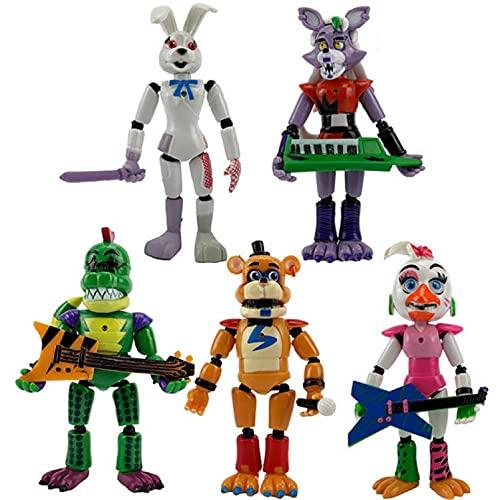 5Pcs / Set Five Nights At Freddy'S Figure Toy 13-14Cm, Action Security Breach Foxy Bonnie Fazbear PVC Model Dolls FNAF para Regalos De Niños