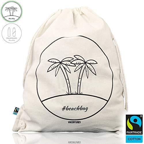VACENTURES Beachbag Fairtrade I Strandtasche I Turnbeutel I Sportbeutel aus 100% Baumwolle! Der Gymbag/Gymsack ist für Damen/Mädchen, Herren/Jungen und Kinder