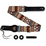 Aodsk Guitar Strap Vintage Woven Adjustable ,includes 2 Strap Locks, For Bass, Electric & Acoustic Guitars,red