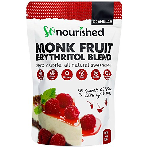 Monk Fruit Sweetener with Erythritol Granular - 1:1 Sugar Substitute, Keto - 0 Calorie, 0 Net Carb, Non-GMO
