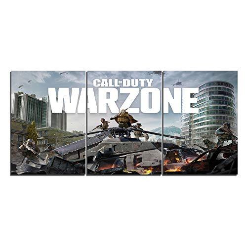 Call of Duty: Warzone – Póster de lienzo para decoración del hogar, 3 piezas de pinturas para sala de…