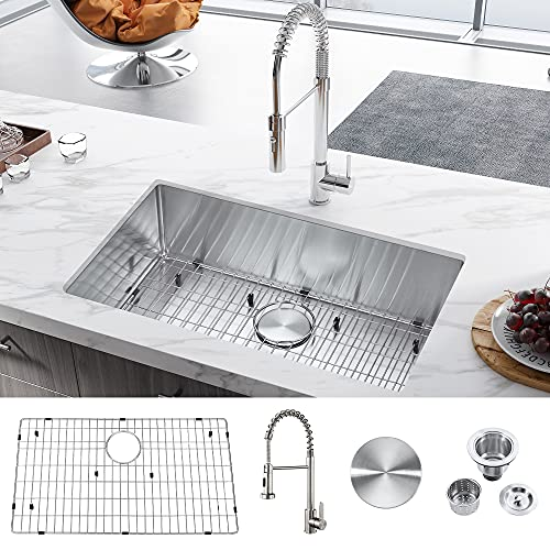 30 Inch Undermount Kitchen Sink, 30'' x 18'' x 9'' Workstation Drop in Stainless Steel Handmade Farmhouse Sink, Deep Single Bowl Sink Basin With Faucet, Basket Strainer and Drain Assembly