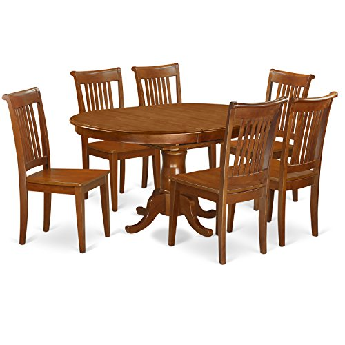 7 Pc Dining room set for 6-Oval Dining Table with Leaf and 6 Dining Chairs