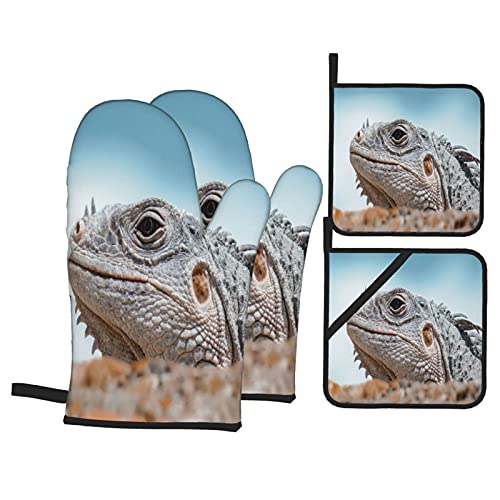 Juego de 4 Manoplas y Porta ollas para Horno,Lagarto Iguana Reptil Gris Fresco Herpet, Guantes para Hornear Resistentes al Calor Antideslizantes para Cocina, BBQ