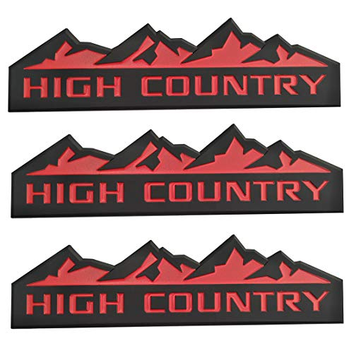 Yuauto 3Pc HIGH Country Car Emblem, Replacement for Badges Door Tailgate 3D Nameplate for Chevrolet Silverado 1500 2500HD Sierra 3500HD (Black red)