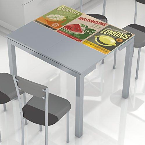"""Mesa de cocina extensible con tablero de cristal templado y serigrafia """"Limón"""" 45-80x90cm"""