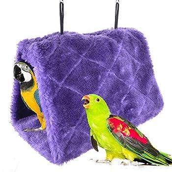 MATT SAGA Perroquet Nid d'Oiseau Animal Nid d'hiver Hiver Chaud Hamac Cabane Pendaison de Peluche Suspendu Cage pour Parrot Perruche Calopsitte Amazones Cacatoès Canari Cage Jouet (M, Violet)