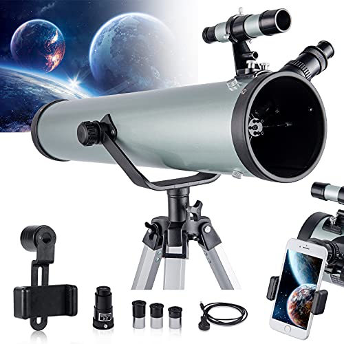 Astronomical Telescope for Kids and Astronomy Beginners, 700mm/76mm Starter Scope Good Partner to View Landscape and Planet, with Tripod, Wire Shutter, Phone Adapter