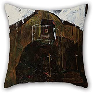 Bestseason 20 X 20 Inches / 50 By 50 Cm Oil Painting Egon Schiele - Landscape With Ravens Throw Christmas Pillow Covers Two Sides Is Fit For Monther Gril Friend Sofa Adults Christmas Bar