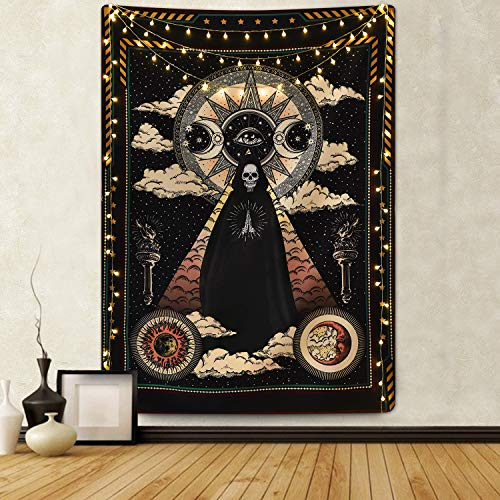 Aeemyonw Wizard Skull Tapestry Solar Iris Tapestry Sun and Moon Tapestry Star and Cloud Tapestry Tarot Tapestry for Room