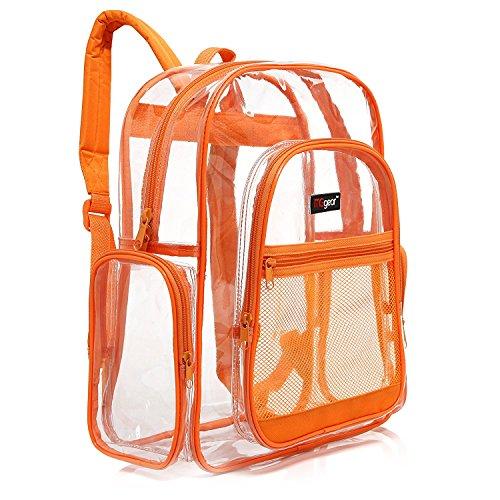 MGgear - Mochila escolar transparente ribete naranja