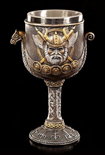Wikinger Kelch - Emblem mit Drakkar Schiff | Deko Figur Met Wein Krug
