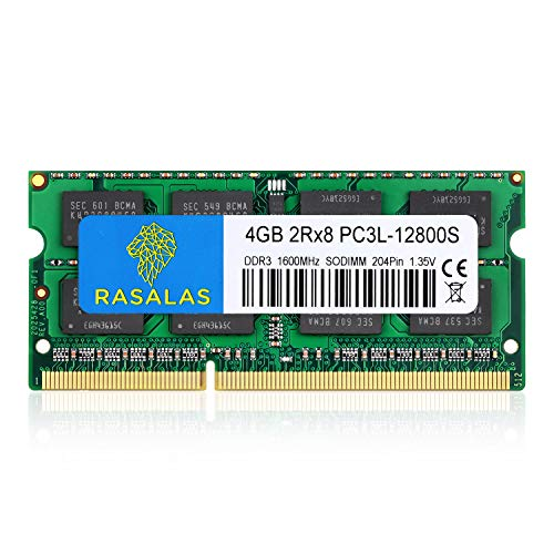 Rasalas 4GB DDR3 PC3-12800 DDR3 1600MHz SODIMM RAM PC3L 12800S DDR3 1600 2Rx8 1.35V CL11 Notebook RAM Memory Modules for Intel AMD And Mac Computer